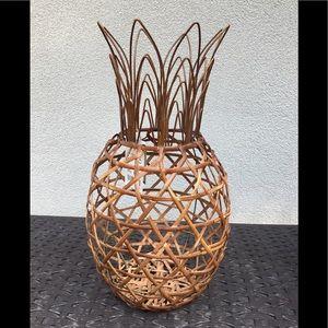 Pineapple made of rattan and metal